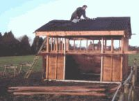 12' by 10' mobile field shelter under construction