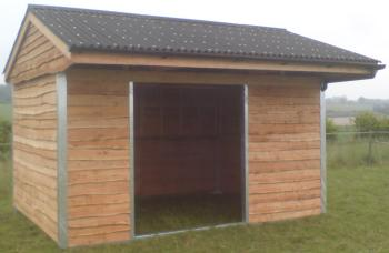14 x 10 mobile field shelter with 6ft opening, front guttering and downpipe fitted inside corner section.