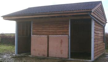 16 x 12 mobile field shelter with lower stable doors and guttering